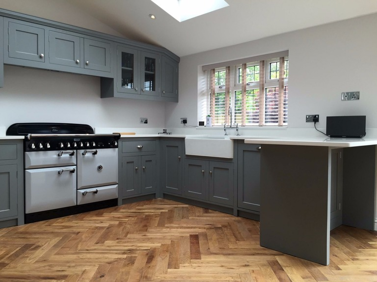 Fully bespoke,shaker style kitchen hand made in solid wood with individually styled features in solid oak.